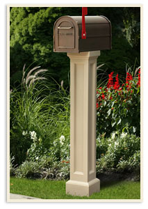 Bradford Mail Post w/ small Standard mailbox  <br> $269.00