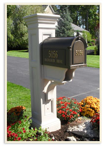Clay Liberty Post W White Hall mailbox $699.00 <br>Includes 2 side panels, <br>Door panel extra, Clay not available