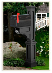 Dover Mail Post w/ small mailbox <br>White and colors $339.00 <br>Add a Solar Cap $65.00 extra