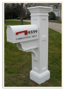White Liberty Post w/ Standard mailbox $389.00 <br>Heavy gauge steel mailbox $489.00
